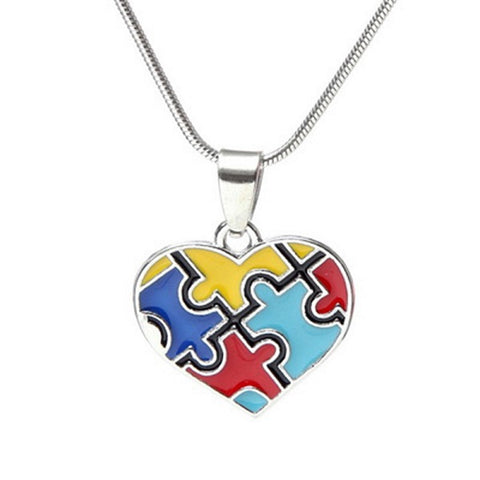 Autism Awareness Multi-Color Puzzle Piece Heart Pendant Chain Necklace