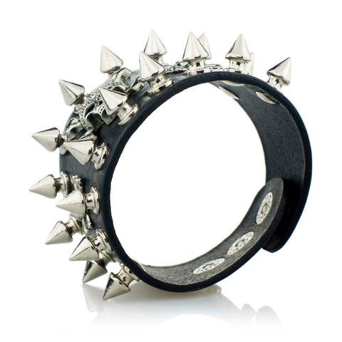 Unique Rock Spikes Rivet Skeleton Skull Punk Wide Cuff Leather Bracelet