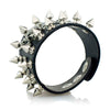 Image of Unique Rock Spikes Rivet Skeleton Skull Punk Wide Cuff Leather Bracelet