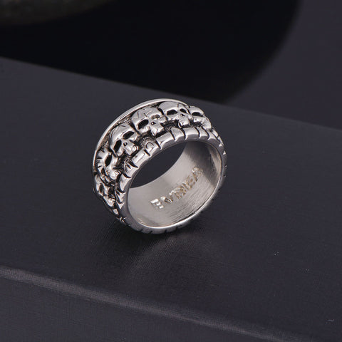 Rock Roll Silver Punk Lots of Baby Skull Rotating Biker Bible Rings