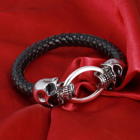 Silver Stainless Steel Skull Weave leather Punk Bracelets