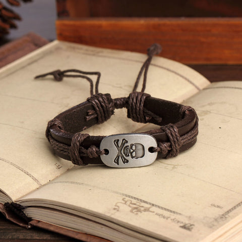 Genuine Leather Cuff Braided Skull Bone Charm Bangles Bracelet