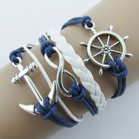 Nautical Rudder Leather Anchor Blue Rope Bangle Bracelet