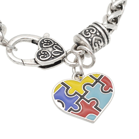 Autism Awareness Lobster Claw Puzzle Piece Colorful Heart Shape Bracelet