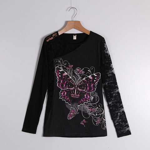 Sexy Skull Print Lace Patchwork Round Neck Pullovers Tops