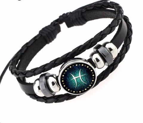12 Constellation Braided Leather Bracelets & Bangles