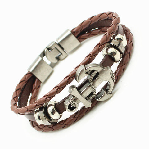 Valentine's Special Leather Multi-Layer Skull Bangle Bracelet