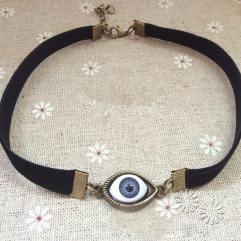 Vintage Metal Demon Eye Choker