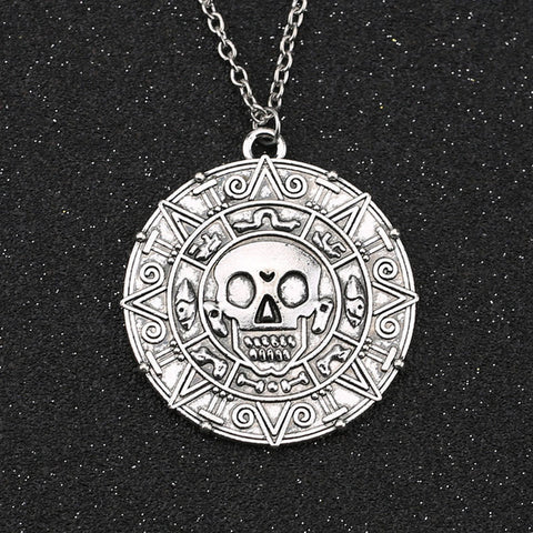Pirates Of The Caribbean Jack Sparrow Aztec Coin Medallion Vintage Pendant