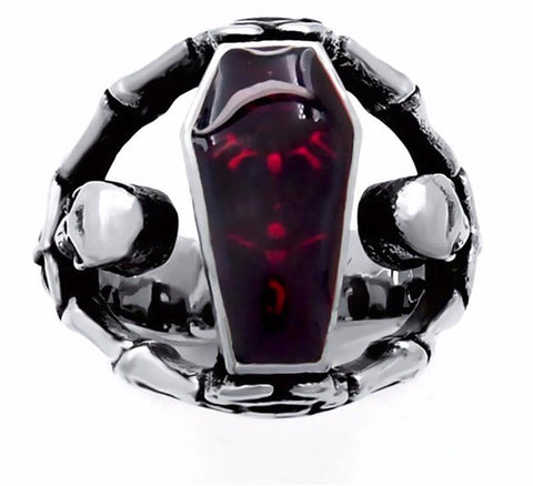 Skeleton Skull Bloody Red Enamel Coffin Stainless Steel Ring