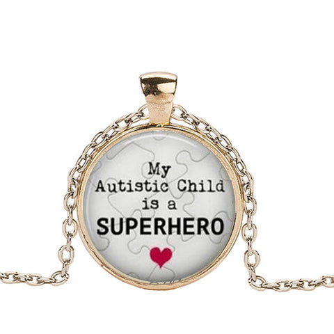 Autism is the Unconditional Love Crystal Dome Pendant Necklace
