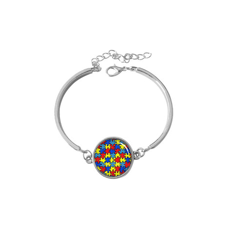 Autism Awareness 'Take Care' Colorful Puzzle Pieces Bracelets