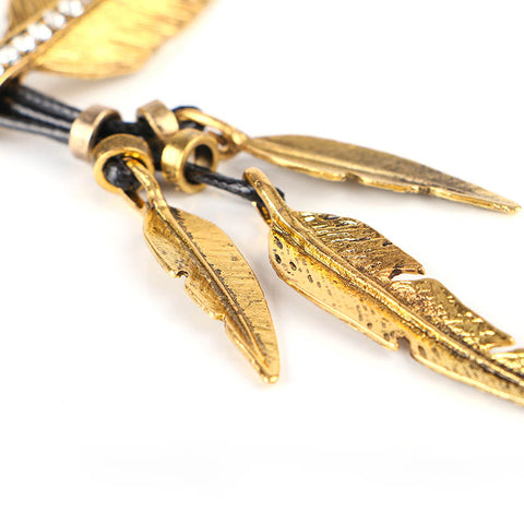 Vintage Feather Statement Rope Chain Pendant Necklace