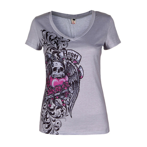 Comfortable Skull Print Causal Short Sleeve V-Neck Punk Summer T-Shirt