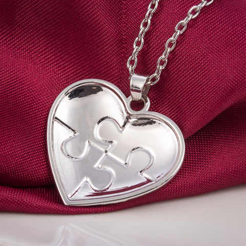 Autism Awareness Heart Shaped Puzzle Piece Pendant Necklace