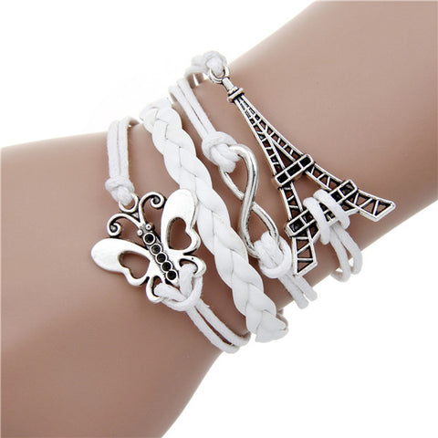 Infinite double leather multilayer Charm  bracelet