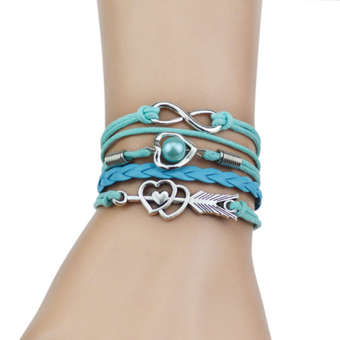 Multi-Strands Infinity Heart Charm Leather Braid Bracelet