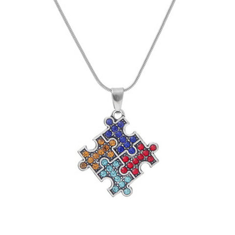 Autism Awareness Jigsaw Puzzle Piece Crystal Necklace