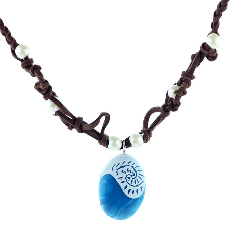 Suede Choker Blue Stone Leather Rope Chain Pendant Necklace