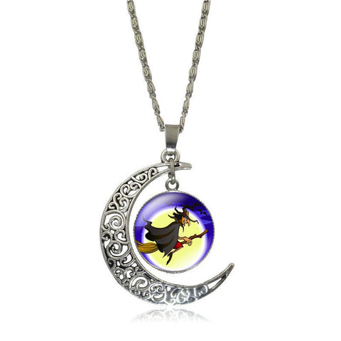 Shiny Gems Witch Skeleton Pendant Necklace