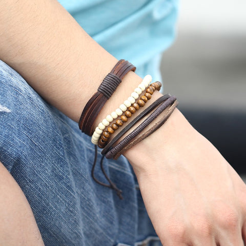Vintage Multi-layer Punk Rock Wood Bead Leather Bracelet