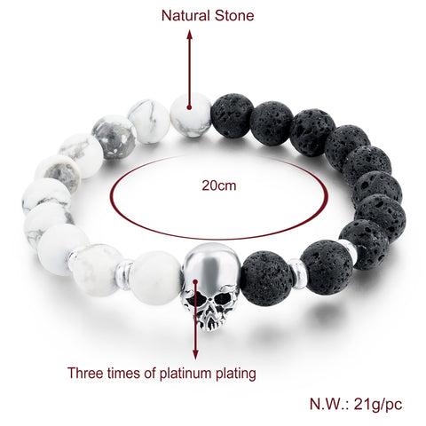 Natural Stone Lava Beads Skull Couples Elastic Bracelets