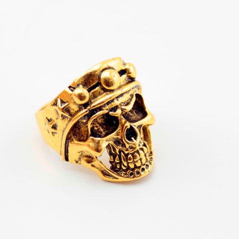 Top Quality Gold Plate Bohemian Statement Punk Big Skull Ring 12 Piece/lot