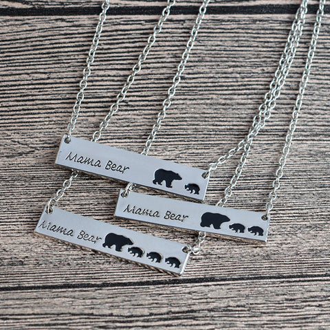 Mama Bear Engraved Animal Zinc Alloy Pendant Necklace Jewelry