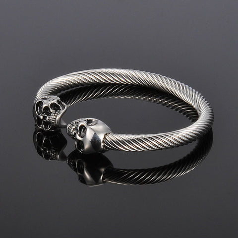 Antique Silver Punk Skull Stainless Steel Bracelet