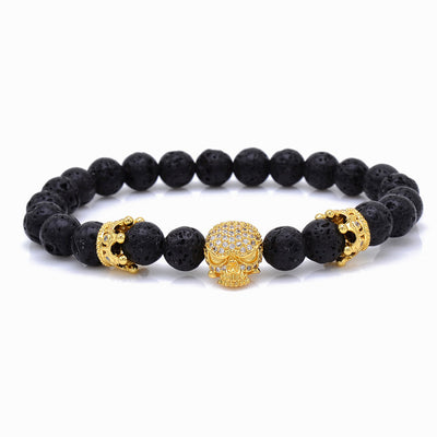 Trendy Crystal Lava Rock Stone Natural Beads Strand Micro Pave Skull Bracelet