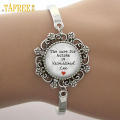 'Autism is unconditional Love' Glass Gem Lace Charm Bracelet