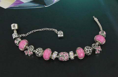 **Free Shipping On Bracelet** <br>Antique Silver Breast Cancer Awareness Pink Ribbon Charms Bracelet