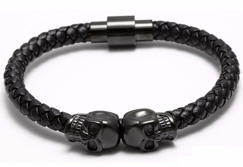 Genuine Leather Double Skeleton Skull Magnet Punk Bracelet