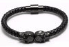 Image of Genuine Leather Double Skeleton Skull Magnet Punk Bracelet