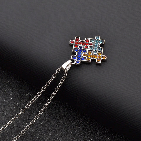 Autism Awareness Multicolor Puzzle Piece Crystal Pendant Necklace