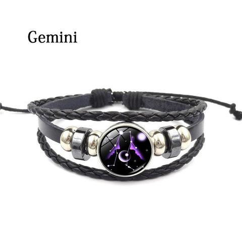Zodiac Glass Metal Buckle Weave Multilayer Leather Charm Bracelet