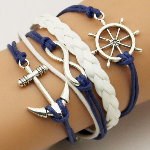 Braided Wax Cords Love Anchor Handmade Leather Charms bracelets Wristband