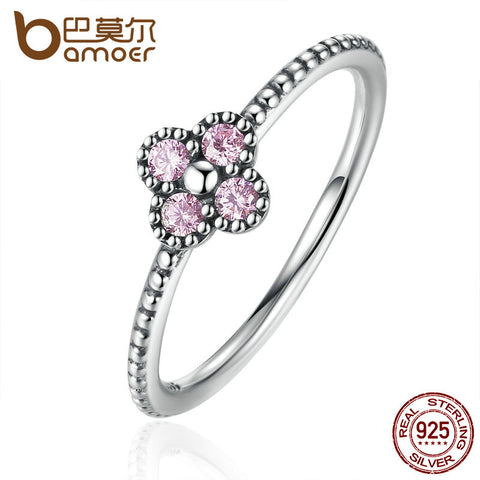 Pink & White Clear CZ Clover Ring