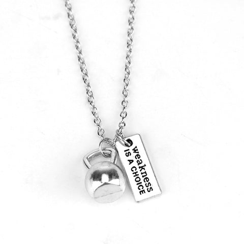 """Weakness Is A Choice"" Inspirational Gym Necklace"