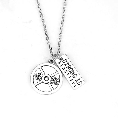 """Strong Is Beautiful"" Gym Fitness Inspirational Necklace"