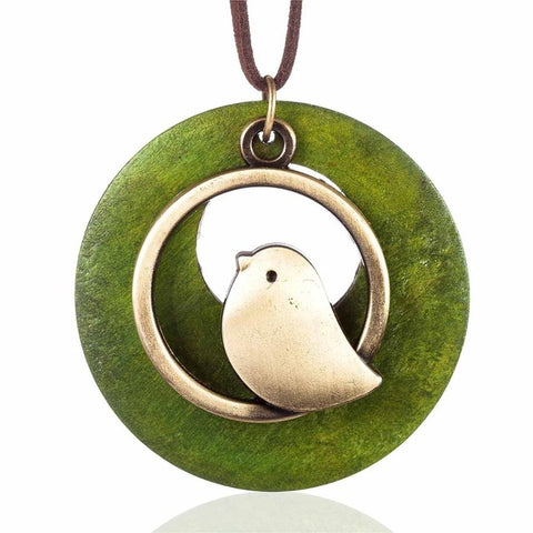 Vintage Bird Wooden Bead Pendant Necklace