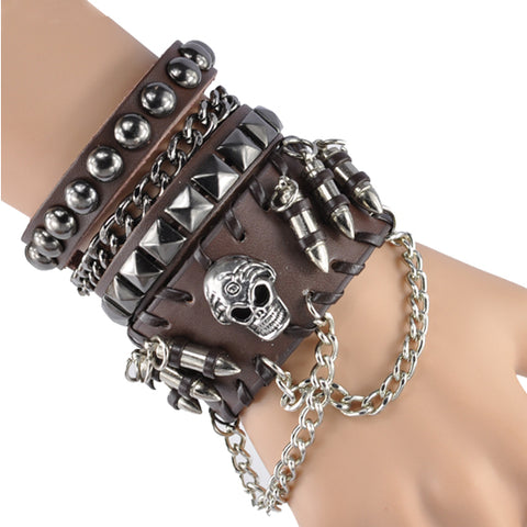Charm Punk Fashion Skull Leather Cool Hip Hop Bracelets