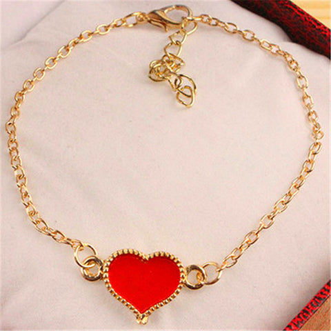 Charming Love Heart Steam Punk Leather Bangle Bracelet