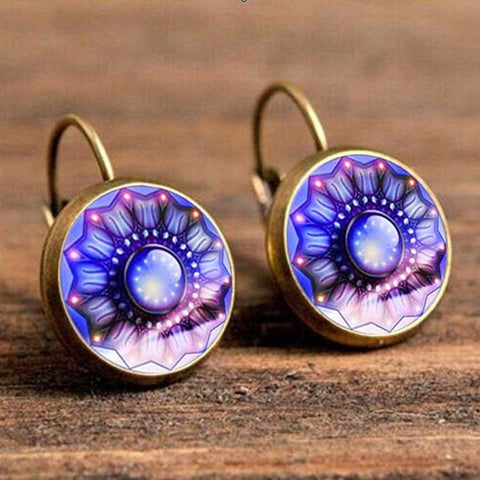 Vintage Retro Flower Stud Patten Brincos Earrings