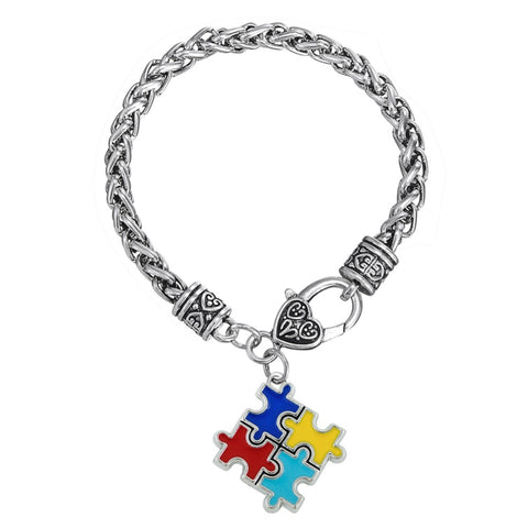Trendy Autism Awareness Puzzle Piece Link Chain Bracelet
