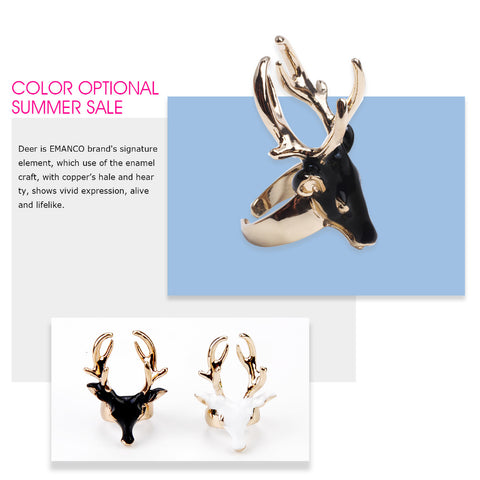 Enamel Animals Deer Cuff Rings