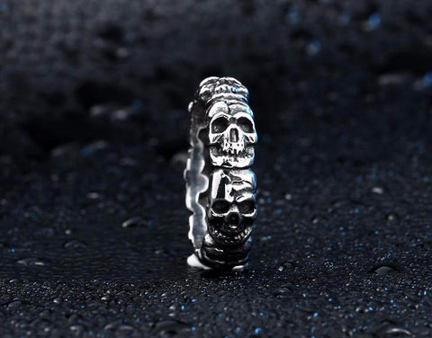 Stainless Steel Punk Cycle Skull Ring