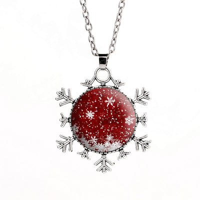 Merry Christmas Snowflake Pendant Necklace