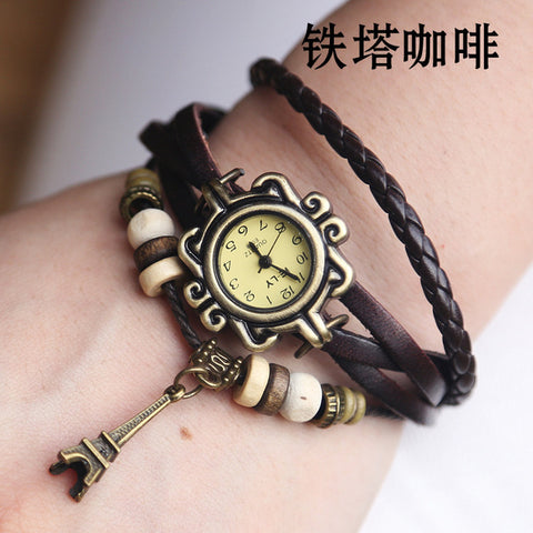 Tower Pendant Leather Watch