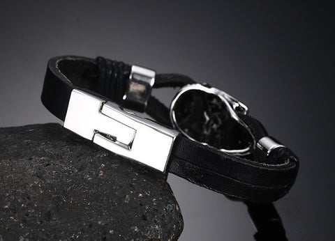 Genuine Leather Skull Punk Stainless Steel Charming Cuff Bracelets